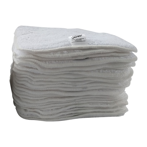 Washable Baby Wipes - White PREMIUM Cotton Terry Cloth