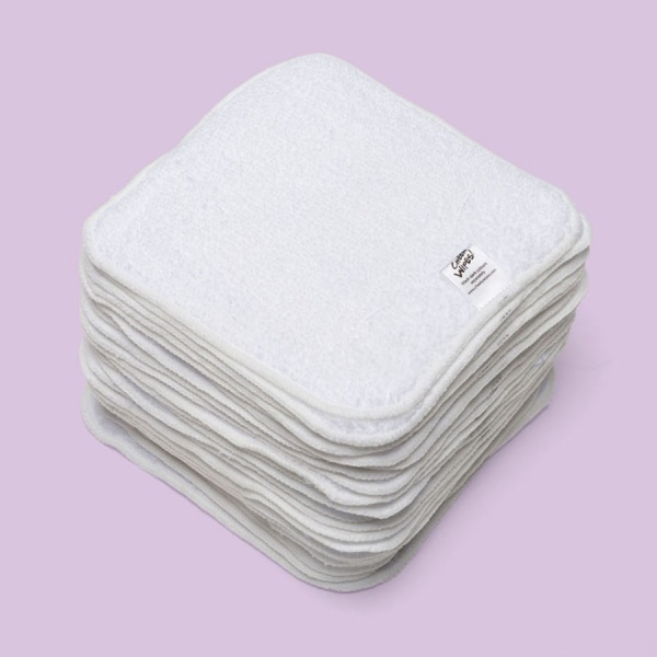 ORGANIC WHITE Cotton Terry Cloth Washable Baby Wipes