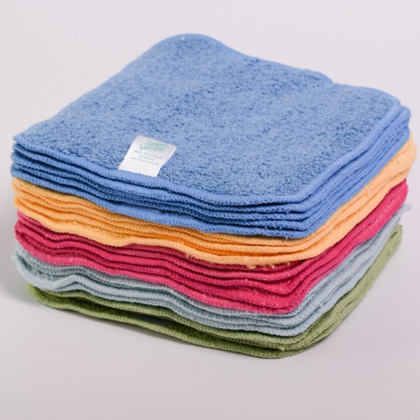 Washable Cloth Bamboo Velour Baby Wipes - RAINBOW Coloured